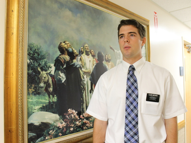 Dallin McEwen, 20, has spent the last 22 months as a missionary in Brooklyn. Most recently he was transferred to Williamsburg, where he does outreach near the Marcy Avenue church.