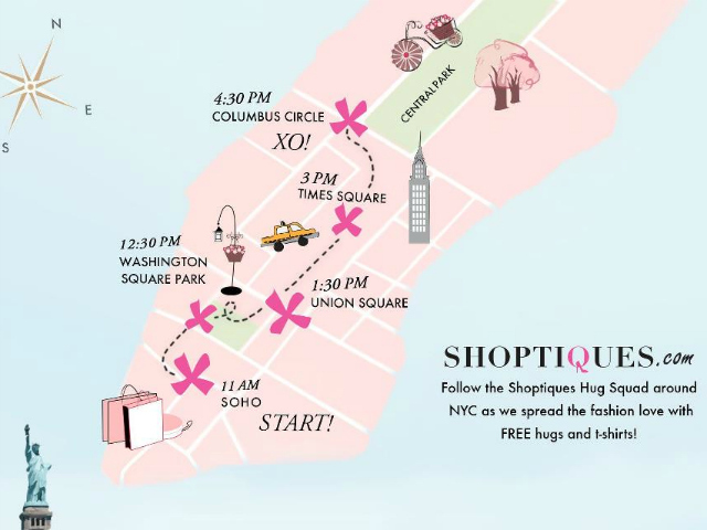 A map on the Shoptiques.com Facebook page shows where the models will be giving out free hugs throughout the day on Friday, Aug. 24, 2012.