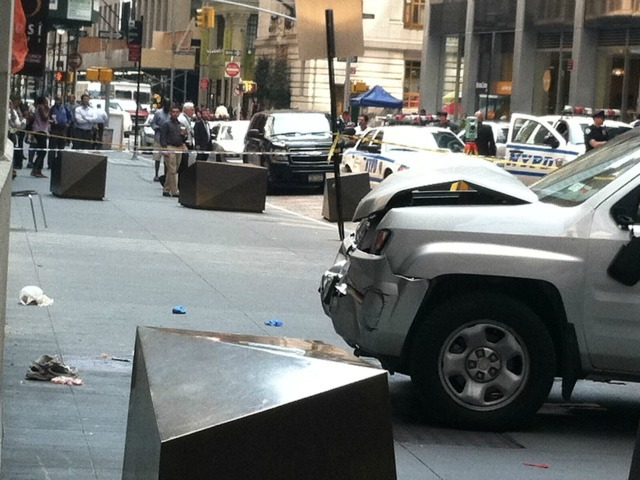 A 70-year-old man was killed by a pickup truck on Broad Street Aug. 23, 2012. The victim's sneaker can be seen at left.
