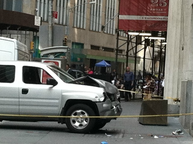 A New York Stock Exchange security pickup truck jumped the curb on Broad Street Aug. 23, 2012.