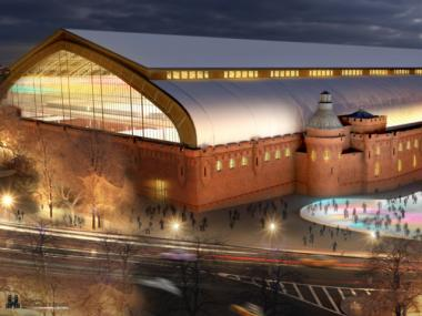 A rendering of the exterior of the proposed Kingsbridge National Ice Center, which would install nine full-sized hockey rinks inside the historic Kingsbridge Armory. Some believe the city will soon select this proposal.