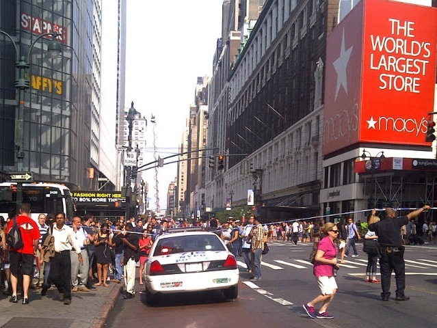 Police closed off the street near the shooting at the Empire State Building, Aug. 24, 2012.