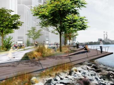 The developers of the Astoria waterfront plan are exploring the possibility of a K-8 school at the site.