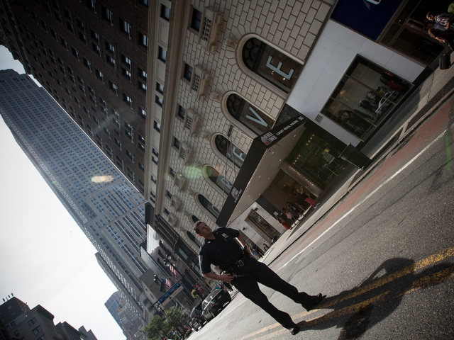 An NYPD Officer close to the scene of the Empire State Building shooting on Aug. 24th, 2012.