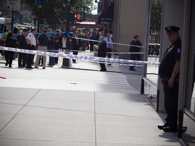 The scene close to the Empire State Building where several people were shot killed, including the gunman on Aug. 24th, 2012.