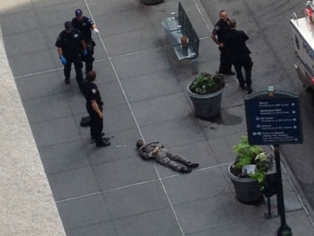 Jeffrey Johnson's body outside the Empire State Building.