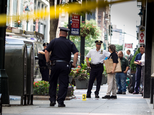 The crime scene outside the Empire State Building after several people were shot and killed on Aug. 24th, 2012.
