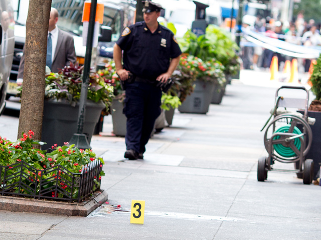 The scene where one of the victims was shot dead outside the Empire State Building on August 24th, 2012.