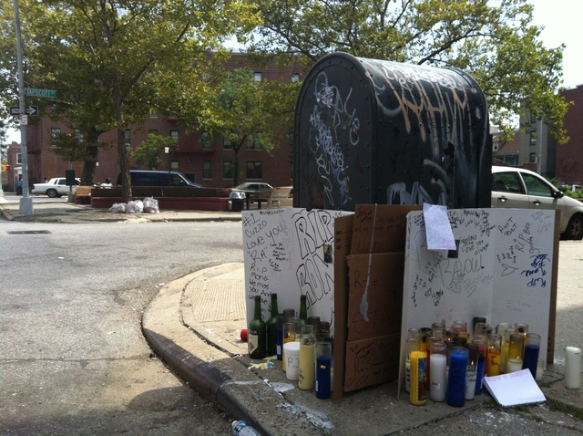 A shrine on August 25, 2012, a day after Ronald Wallace, 13, was shot to death near Tapscott St. and Blake Ave. in Brownsville, Brooklyn.