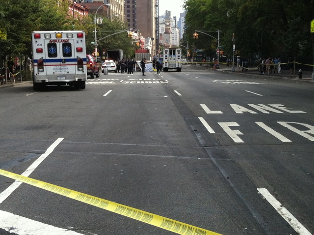 A flatbed truck fatally hit a woman in the West Village August 27, 2012.