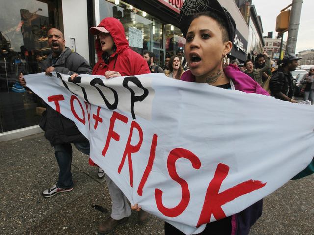 <p>Opponents of the New York Police Department&rsquo;s controversial &quot;stop-and-frisk&quot; policy march on Jan. 27, 2012 in the Bronx borough of New York City. The NYPD says the stops assist crime prevention while opponents say they involve racial profiling and civil rights abuses.</p>