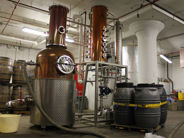 The Van Brunt Stillhouse uses copper stills handmade in Germany, assistant distiller David Lewis said.