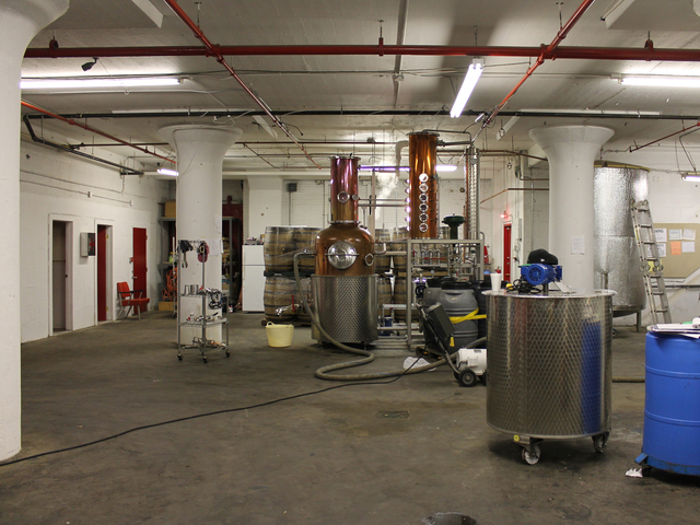 The Van Brunt Stillhouse in Red Hook is a two-man operation consisting of owner and distiller Daric Schlesselman and assistant distiller David Lewis.