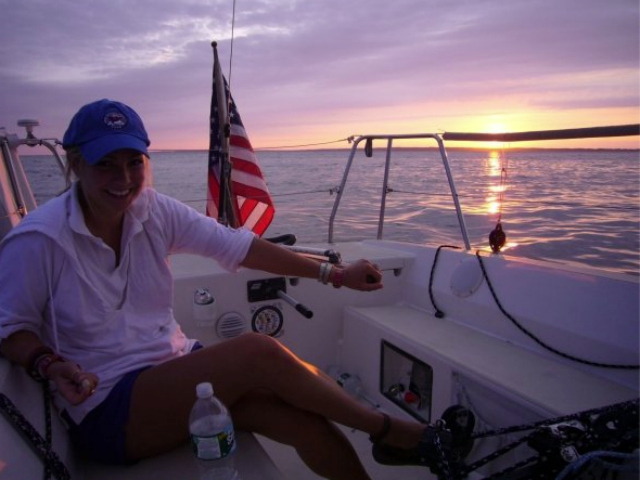 Carlisle Brigham on a yacht ride from Wickford to Nantucket in Aug. 2009.