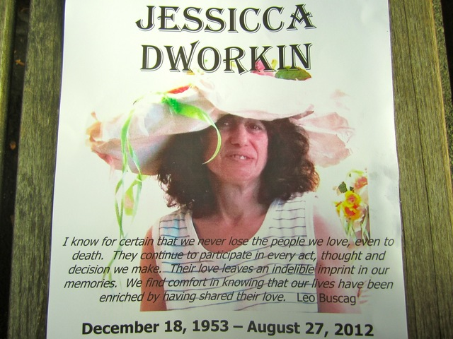 Fliers regarding Jessica Dworkin's death hung in the Greenwich House location on Barrow Street Aug. 27, 2012, the day she was struck by a flatbed truck as she rode her foot scooter.