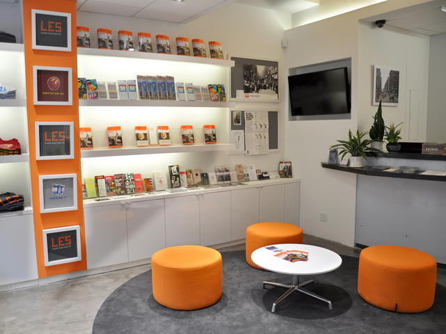 The lounge area at the Lower East Side Business Improvement District's storefront  office on Orchard Street.