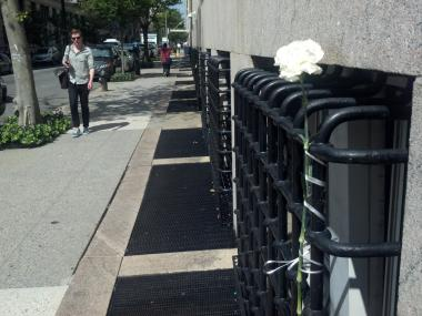 A white rose at West 114th Street and Amsterdam Avenue, where 18-year-old Columbia University freshman Martha Corey-Ochoa plunged to her death Monday August 27, 2012.