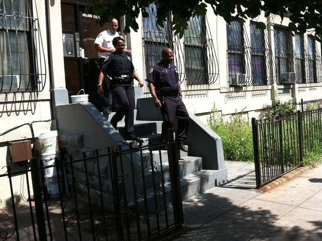 Police at the scene of a double stabbing at 419 Chauncey St. in Bedford-Stuyvesant.