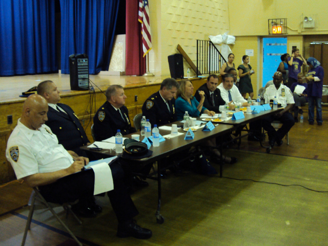 Advocates organized a public meeting on school safety in June, which they called the People's Hearing on School Justice in The Bronx. Nearly a dozen school and police officials attended.