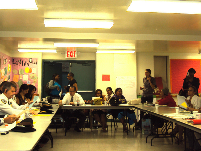 Bronx parents, students and advocates met with DOE and NYPD officials in July to discuss specific school safety reforms.