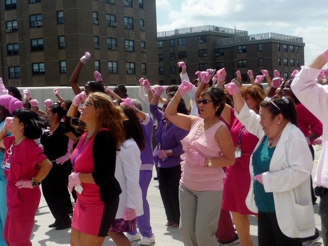 St. Barnabas Hospital staff competes in the Pink Glove Dance Competition. Videos of the Pink Glove performances will be uploaded to YouTube, where the public will vote for their favorite.