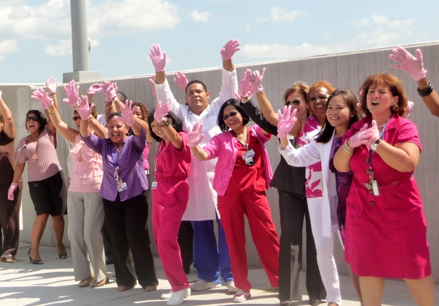 St. Barnabas Hospital performed a flash mob dance on the hospital's parking garage on Tuesday, Aug. 28, as part of a contest to promote breast cancer awareness.