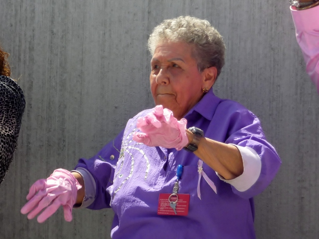 St. Barnabas Hospital staff competes in the Pink Glove Dance Competition on Tuesday, Aug. 28. Hundreds of employees took part in the event.