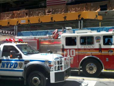 Police and fire officials at 3 World Trade Center after reports of a construction worker falling and suffering serious injuries.