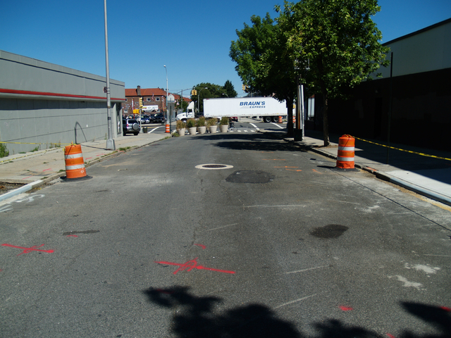 The northern end of 78th Street in Jackson Heights, part of which will be still be open for traffic when the plaza is completed.