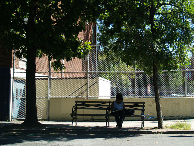 A woman enjoys the shade of two nearby trees on 78th Street.