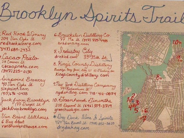 The Brooklyn Spirits Trail map, created by Cacao Prieto, leads the way to 10 craft distilleries and breweries in Red Hook, Sunset Park, Williamsburg and Greenpoint.