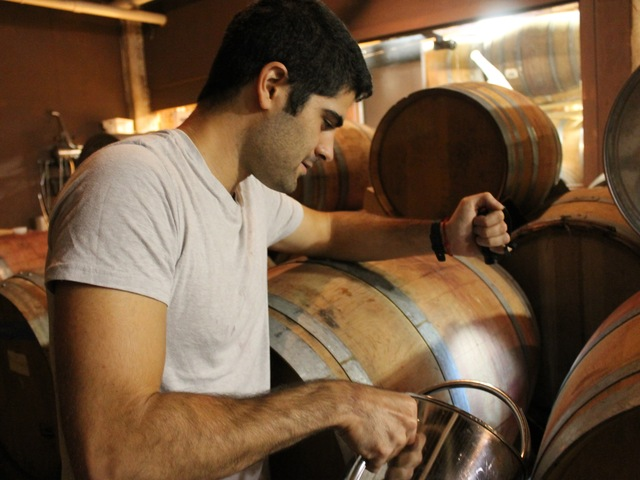 Red Hook Winery cellar master Ben Nicholas tops-off casks of wine.