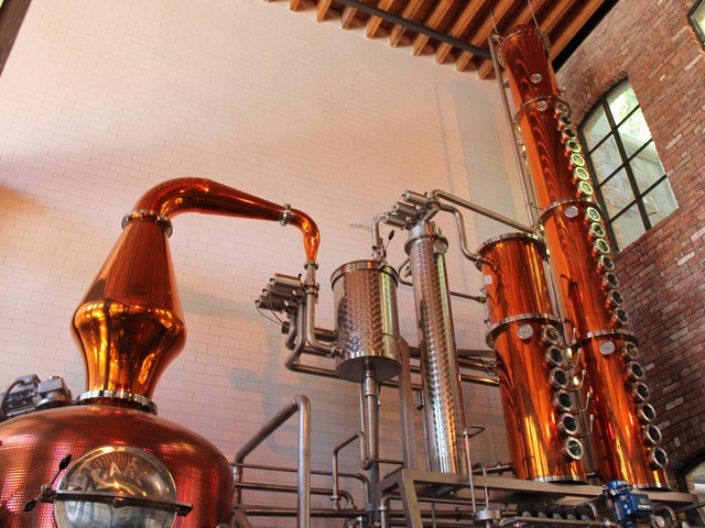 A tall copper still turns out liquor at Cacao Prieto.