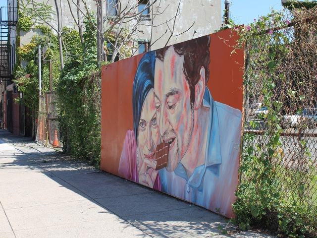 A chocolate-themed mural stands opposite Cacao Prieto.