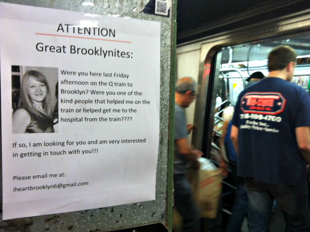 Cassandra, 25, posted fliers on the downtown Q train platform inside the Union Square subway station in an effort to find the good Samaritans who helped save her life.