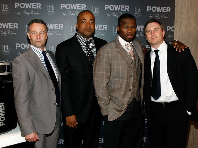 Phil Zelner, Chris Lighty, Rapper '50 Cent', aka Curtis Jackson and Thomas Butkiewicz attend the debut of the new 'Power By 50 Cent' fragrance at Avenue on June 23, 2009 in New York City.