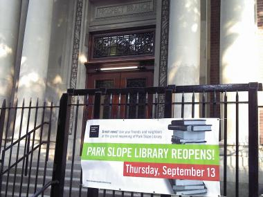 After a lengthy renovation the Park Slope public library will reopen on Sept. 13, 2012.
