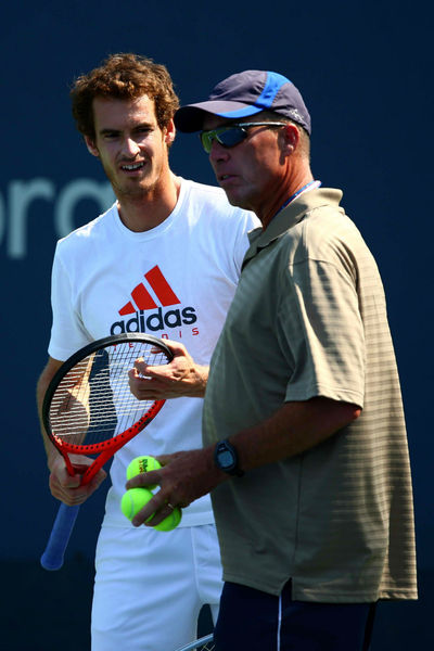 Ivan Lendl coaching Andy Murray at practice at the USTA National Tennis Center in Flushing, Queens, Thursday, August 30, 2012.
