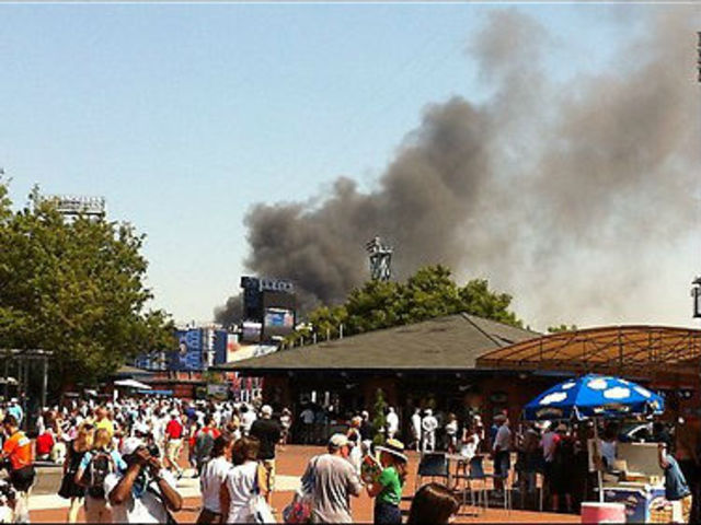 People took to Twitter to post photos of the smoke rising above the U.S. Open Friday August 31, 2012.