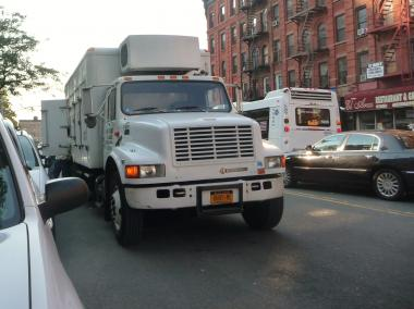 A truck parked on a street in the Bronx. A group of Bronx politicians say the city is dragging its feet in enforcing a law to increase traffic fines for tractor trailer trucks that park illegally on residential streets overnight.