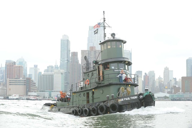A tugboat in the Great Northern Tugboat Race in the Hudson River on September 2, 2012.