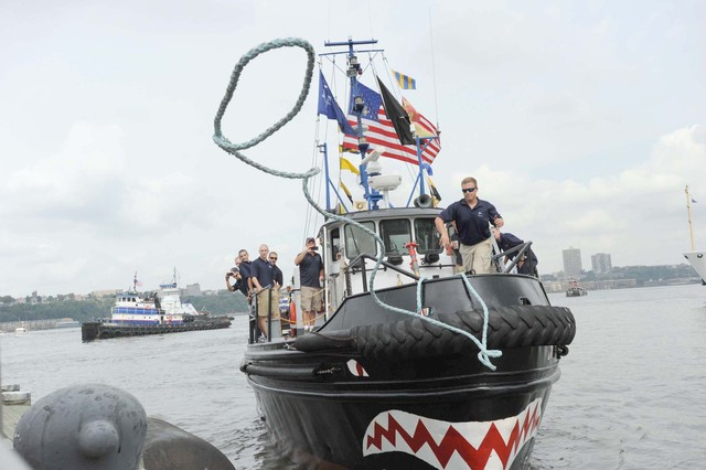 The return to port after the Great Northern Tugboat Race on September 2, 2012 in the Hudson River.