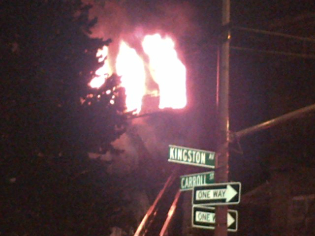 The fire broke out around 2:30 a.m. on Carroll Street near Kingston Avenue.