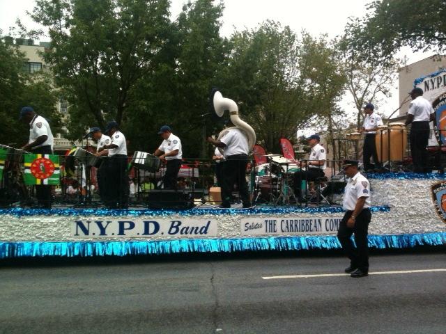 The NYPD band plays at the 2012 West Indian Parade on Monday, Sept. 3, 2012.