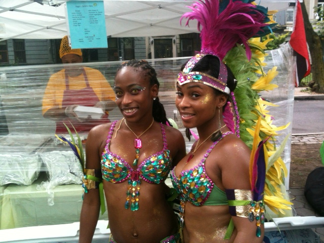 Visitors to the parade stepped out in a variety of flamboyant costumes, including bejeweled bikinis.