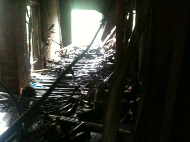 Debris littered an apartment on the second floor Monday, Sept. 3, 2012.