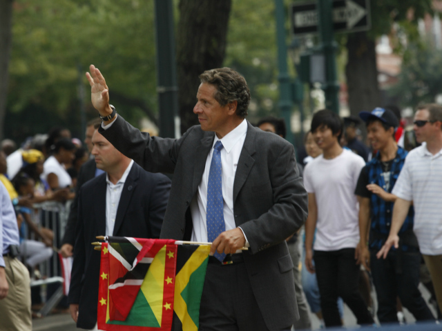 New York Governor Andrew Cuomo at the West Indian Day Parade along Eastern Parkway in Brooklyn.  Sept. 3, 2012.
