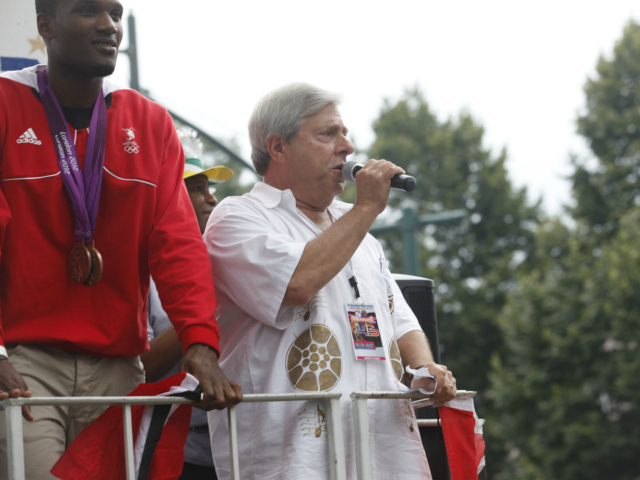 Brooklyn Borough President Marty Markowitz at the West Indian Day Parade along Eastern Parkway in Brooklyn.  Sept. 3, 2012.