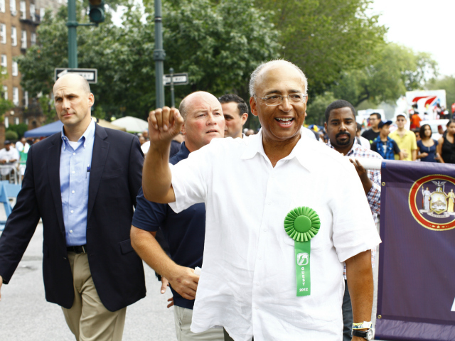 <p>Former mayoral candidate Bill Thompson at the West Indian-American Day Parade on Monday, Sept. 3, 2012.</p>