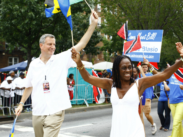 <p>Public Advocate Bill de Blasio at the West Indian-American Day Parade along Eastern Parkway in Brooklyn Sept. 3, 2012.</p>